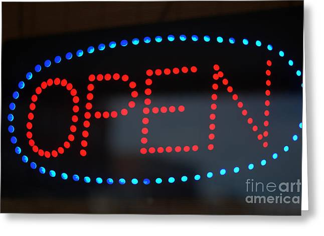 Open Sign In Neon Greeting Card by Connie Fox