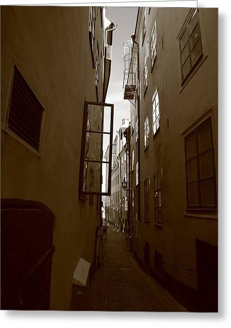 Open Window In Gamla Stan In Stockholm Greeting Card
