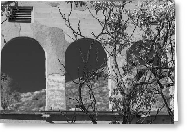 Open Windows Jerome Black And White Greeting Card