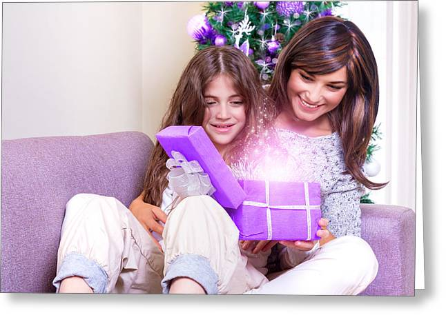 Opening Christmas Present Greeting Card by Anna Om