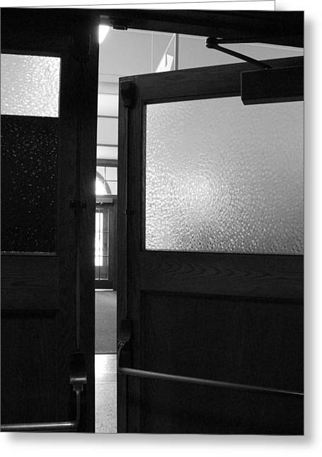 Opening Doors Bw Greeting Card by Elizabeth Sullivan