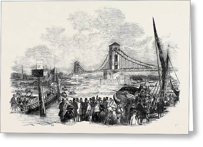 Opening Of The Hungerford Suspension Bridge Greeting Card