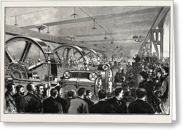 Opening Of The Liverpool Docks Overhead Electric Railway Greeting Card by English School