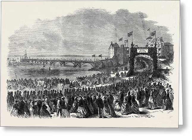 Opening Of The Pier At Clevedon Somersetshire Uk 1869 Greeting Card