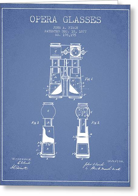 Opera Glasses Patent From 1877 - Light Blue Greeting Card by Aged Pixel