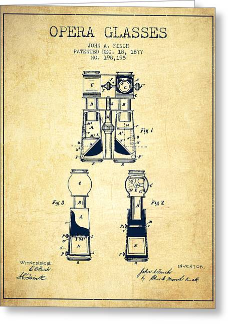 Opera Glasses Patent From 1877 - Vintage Greeting Card by Aged Pixel
