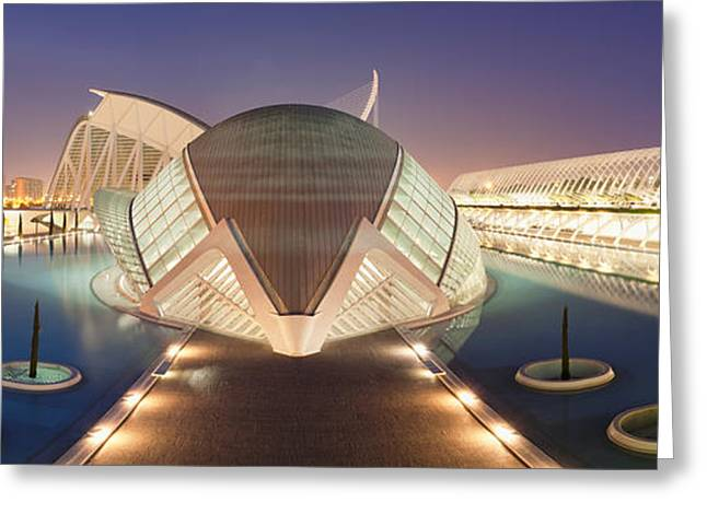 Opera House Lit Up At Night, Ciutat De Greeting Card by Panoramic Images
