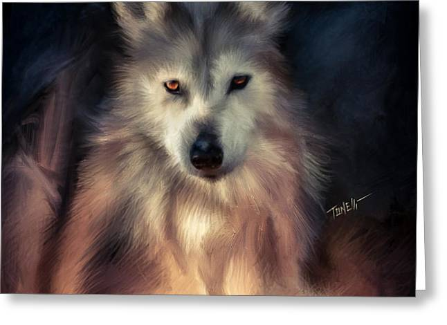 Wolf Art  Red Flower Greeting Card