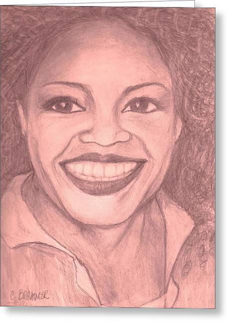 Greeting Card featuring the drawing Oprah by Christy Saunders Church