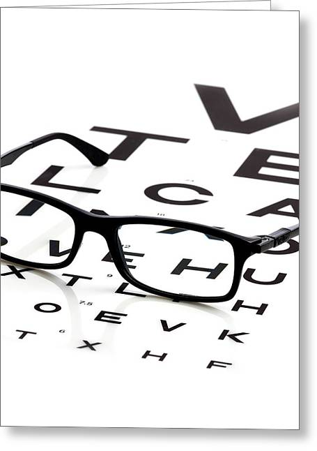 Opticians Chart And A Pair Of Glasses Greeting Card