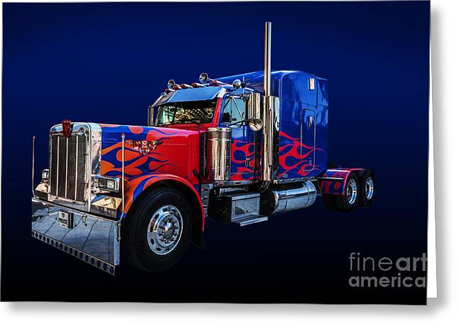 Optimus Prime Blue Greeting Card by Steve Purnell
