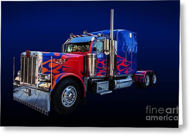 Optimus Prime Blue Greeting Card