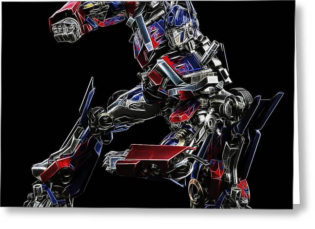 Optimus Prime Greeting Card by Malania Hammer