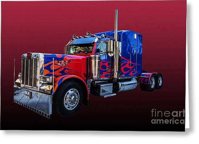 Optimus Prime Red Greeting Card by Steve Purnell
