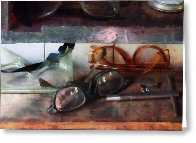 Optometrist - Safety Glasses Greeting Card by Susan Savad