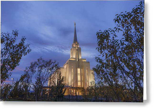 Oquirrh Mountain Temple II Greeting Card by Chad Dutson