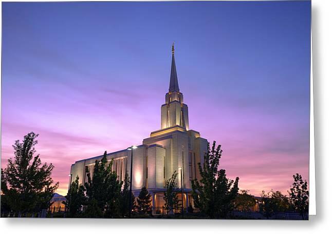 Oquirrh Mountain Temple Iv Greeting Card