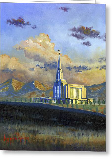Oquirrh Mountain Temple Greeting Card by Jeff Brimley