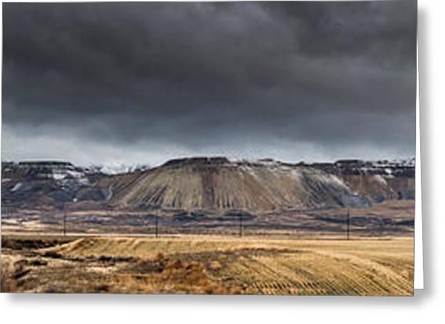 Oquirrh Mountains Winter Storm Panorama - Utah Greeting Card by Gary Whitton