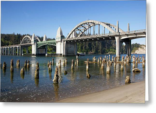 Or, Florence, Siuslaw River Bridge Greeting Card by Jamie and Judy Wild