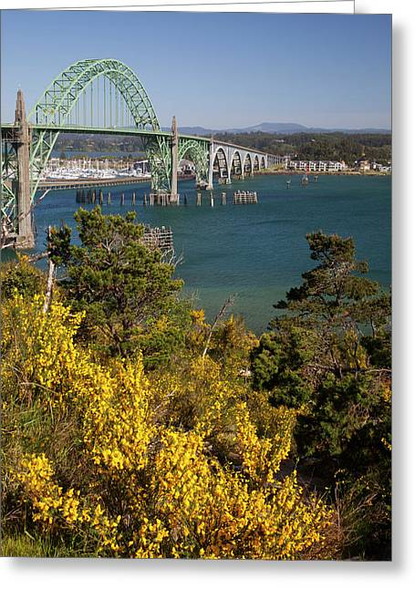 Or, Newport, Yaquina Bay Bridge Greeting Card by Jamie and Judy Wild