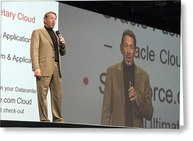 Oracle Ceo Larry Ellison Greeting Card by Scott Lenhart