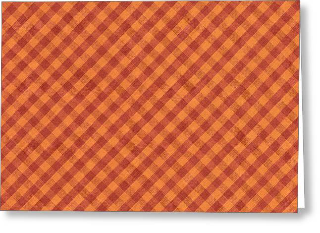 Orang And Brown Checkered Diagonal Tablecloth Cloth Background Greeting Card by Keith Webber Jr