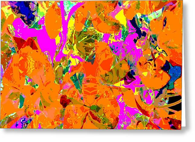 Greeting Card featuring the digital art Orange Abstract by Barbara Moignard