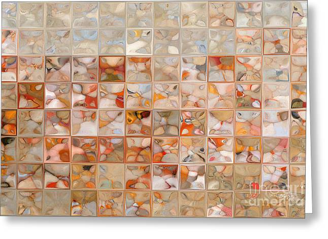 Orange And Beige. Modern Mosaic Tile Art Painting Greeting Card by Mark Lawrence