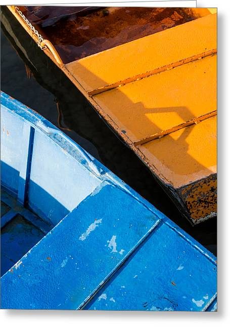 Orange And Blue Greeting Card by Davorin Mance
