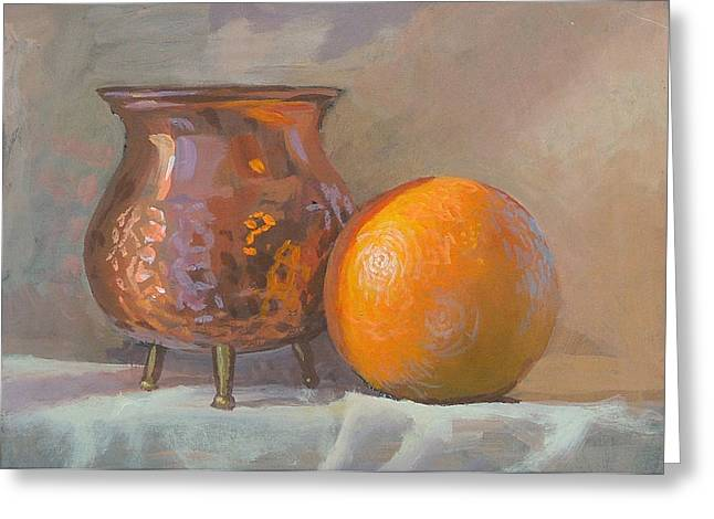Orange And Copper Greeting Card by Peter Orrock