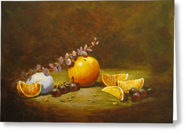 Greeting Card featuring the painting Orange And Egg by Carol Hart
