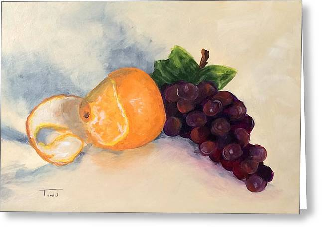 Orange And Grapes Greeting Card