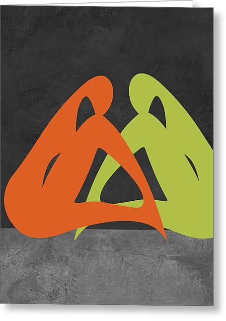 Orange And Green Women Greeting Card