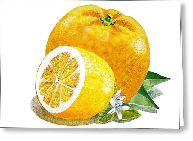 Orange And Lemon Citrus Bunch Greeting Card by Irina Sztukowski