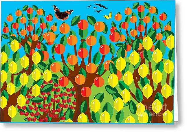 Orange And Lemons Greeting Card by Neil Finnemore