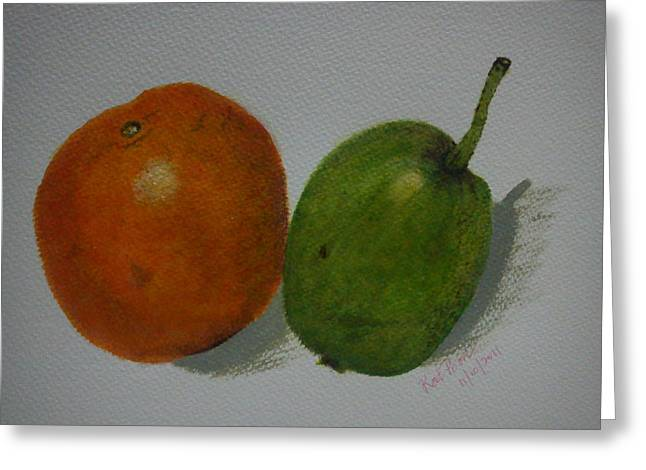 Orange And Pear Greeting Card by Kat Poon