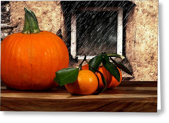 Orange And Rain Greeting Card by Cecil Fuselier