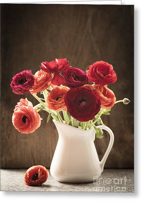 Orange And Red Ranunculus Flowers Greeting Card