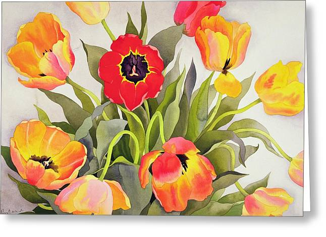 Orange And Red Tulips  Greeting Card by Christopher Ryland