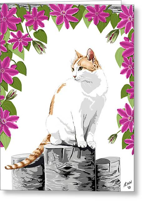 Orange And White Cat And Clematis Greeting Card