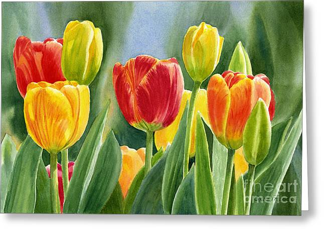 Orange And Yellow Tulips With Background Greeting Card by Sharon Freeman
