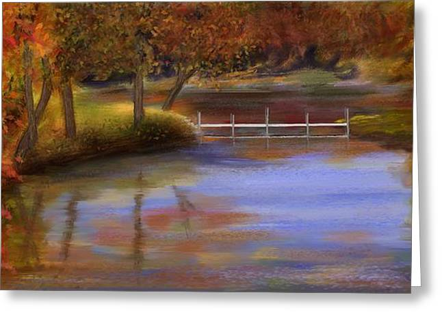 Orange Autumn Colors Reflected In Water  Greeting Card by Judy Filarecki