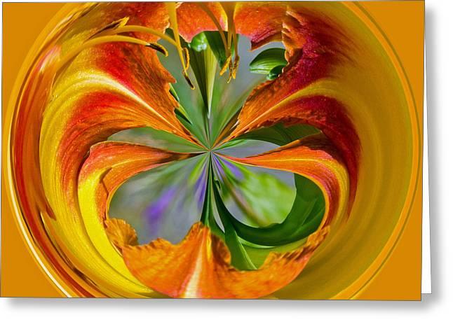 Orange Blossom Orb Greeting Card by Tikvah's Hope