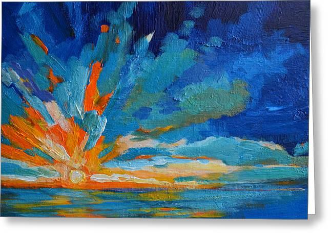 Orange Blue Sunset Landscape Greeting Card