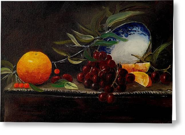 Orange Bowl Grapes Branch Greeting Card