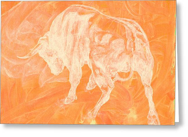 Orange Bull Negative Greeting Card