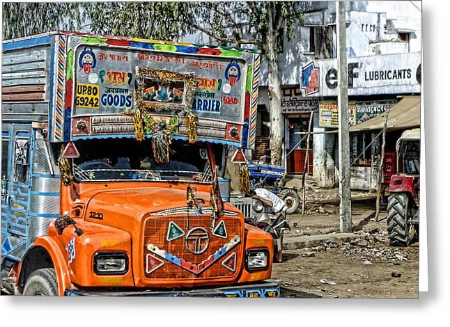 Orange Cab On Truck Greeting Card