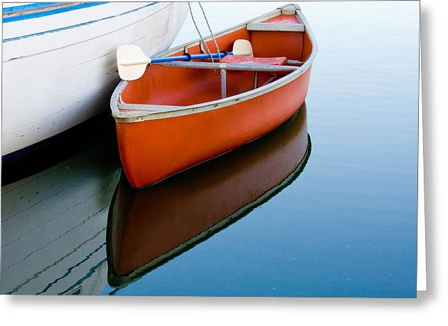 Orange Canoe Greeting Card by CJ Middendorf