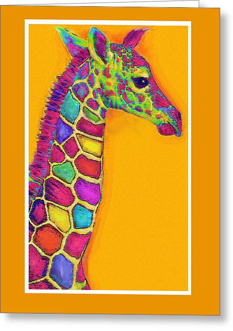 Orange Carosel Giraffe Greeting Card by Jane Schnetlage
